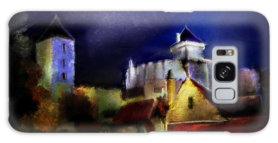 Painting Galaxy S8 Case featuring the painting Moonlit Fort by Chris Knights