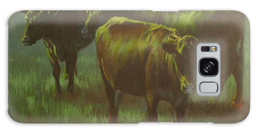 Cows Galaxy S8 Case featuring the painting Moonlit by Mia DeLode