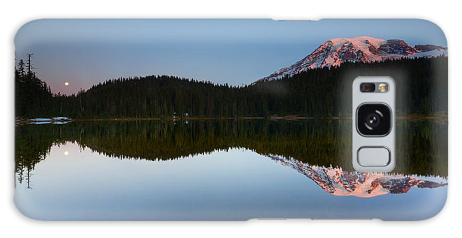 Moonset Galaxy S8 Case featuring the photograph Moonset Over Rainier by Mike Dawson