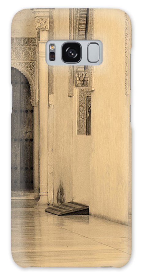 Moorish Galaxy S8 Case featuring the photograph Moorish Walkway In Sepia At The Alhambra by Greg Matchick