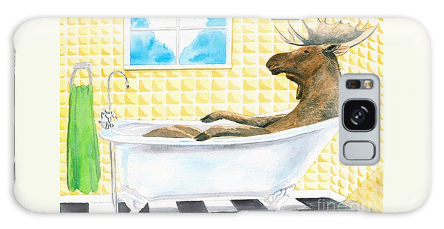 Moose Galaxy Case featuring the painting Moose Bath by LeAnne Sowa