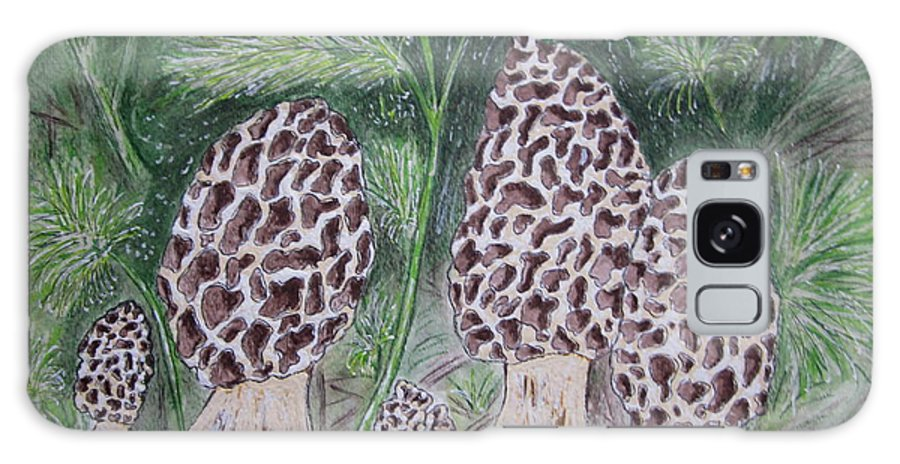 Morel Galaxy S8 Case featuring the painting Morel Mushrooms by Kathy Marrs Chandler