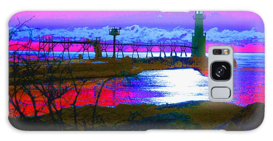 Lighthouse; Lighthouses; Algoma; Algoma Pierhead Light; Wisconsin; Lake Michigan; Great Lakes; Abstract; Maritime Galaxy S8 Case featuring the photograph Morning At The Algoma Light An Abstract by Janice Adomeit