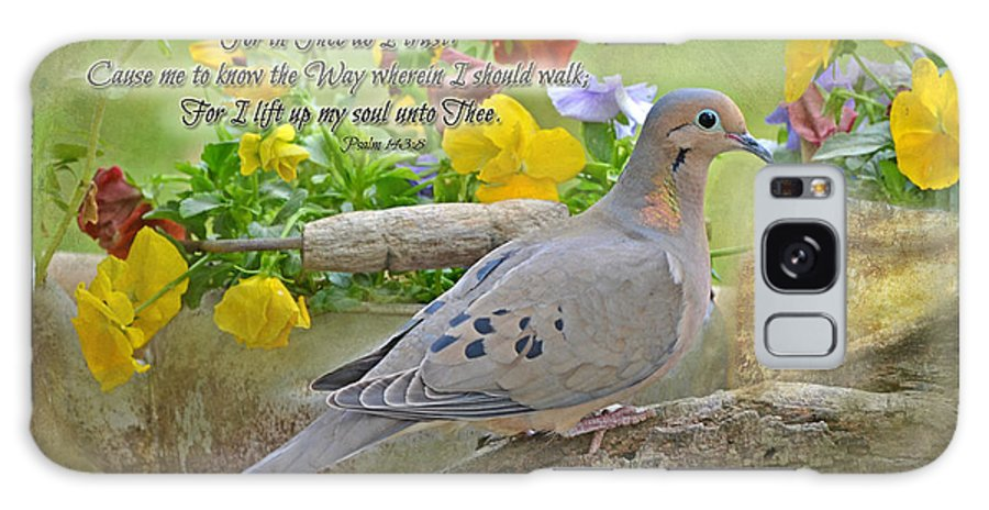 Nature Galaxy S8 Case featuring the photograph Morning Dove With Verse by Debbie Portwood