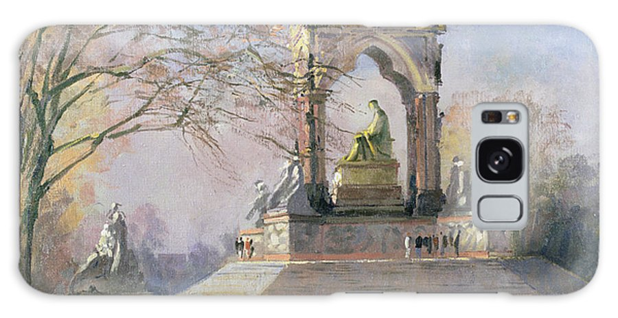 Consort Galaxy S8 Case featuring the photograph Morning Visitors To The Albert Memorial Oil On Canvas by Bob Brown