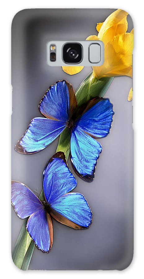 Iridescent Galaxy S8 Case featuring the photograph Morpho On Yellow Iris by Kirk Ellison