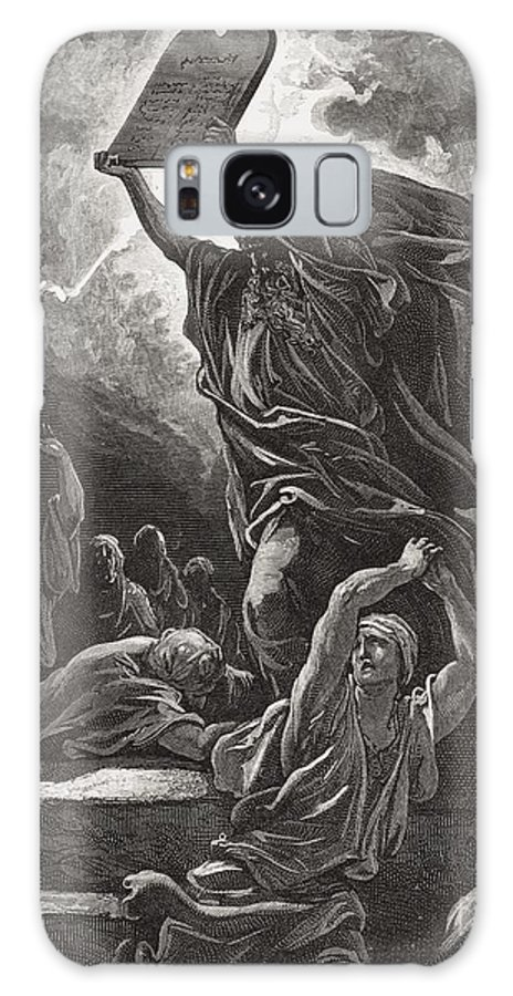 Tables Galaxy S8 Case featuring the painting Moses Breaking The Tablets Of The Law by Gustave Dore