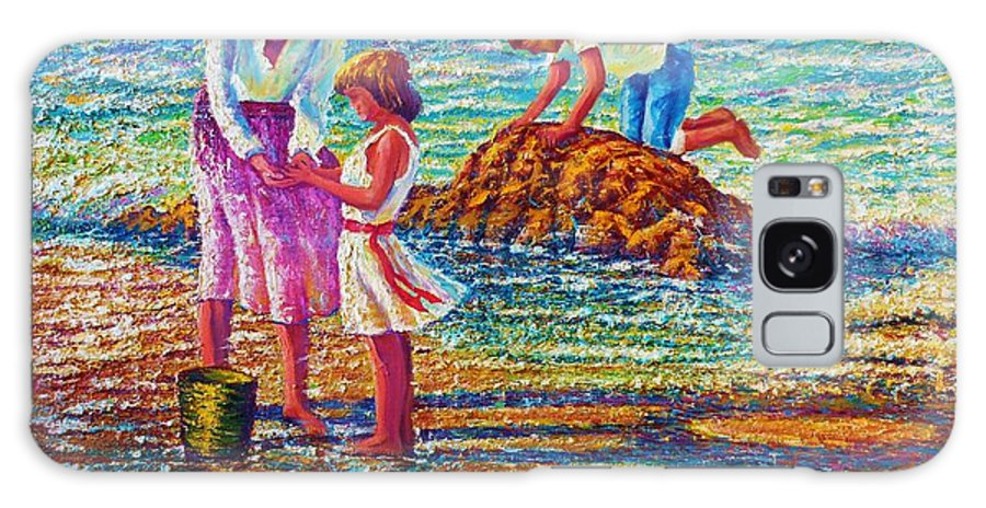 Seascape Ocean Beach Children Play Surf Shore Sand Rocks Reflections Ripples Waves Cresting Breakers Bodies Hands Feet Toes Fingers Hair Shadows Sun Sparkle Galaxy S8 Case featuring the painting Mother And Child II by Joseph  Ruff