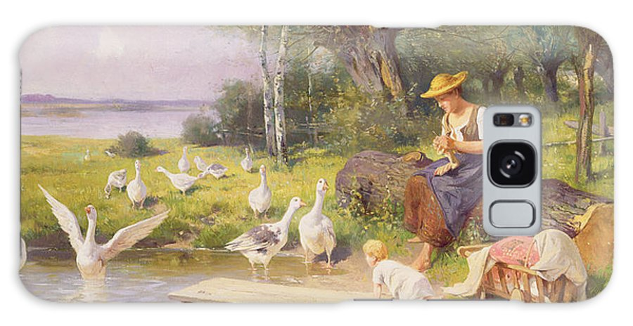 Knitting Galaxy S8 Case featuring the painting Mother And Child With Geese by Adolf Ernst Meissner