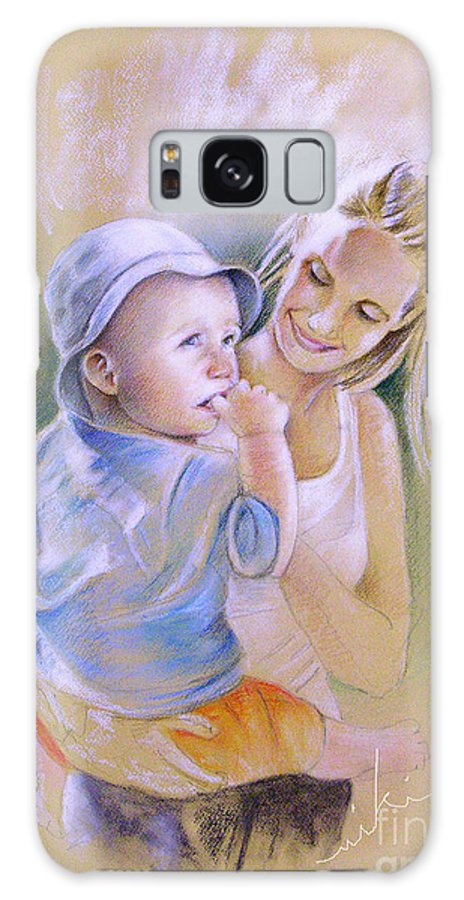 Portrait Galaxy Case featuring the painting Mother And Son by Miki De Goodaboom