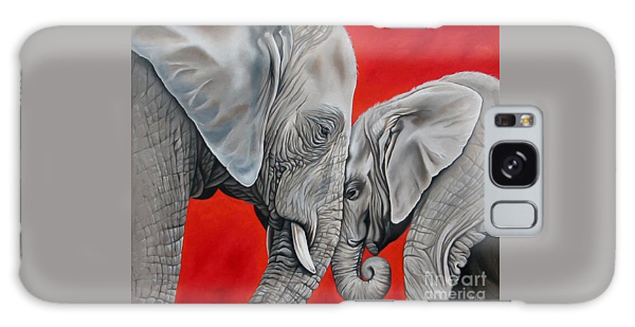 Elephant Galaxy S8 Case featuring the painting Mothers Love by Ilse Kleyn