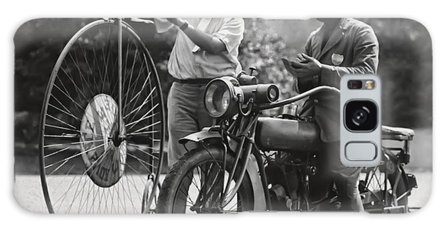 Motorcycle Galaxy S8 Case featuring the photograph Motorcycle And Velocipede - 1921 by Daniel Hagerman