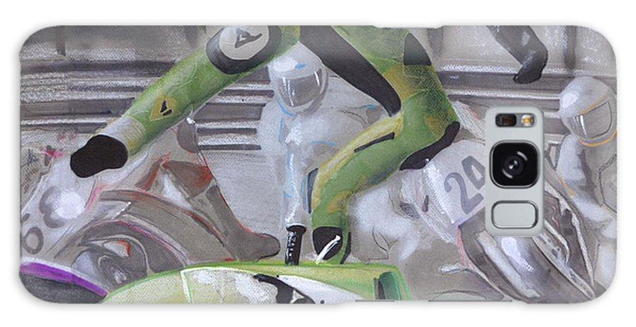 Motorcycle Galaxy S8 Case featuring the drawing Kawasaki Motorcycle Crash by Paul Kuras