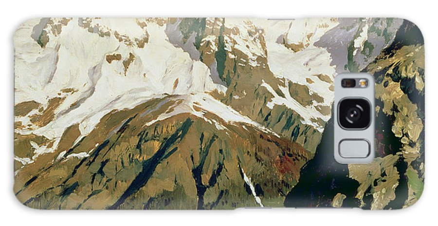 Snow Capped Galaxy S8 Case featuring the painting Mount Blanc Mountains by Isaak Ilyich Levitan