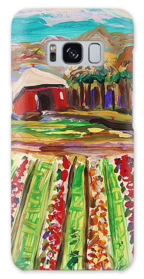 Mountain Farm Galaxy S8 Case featuring the painting Mountain Farm by Mary Carol Williams