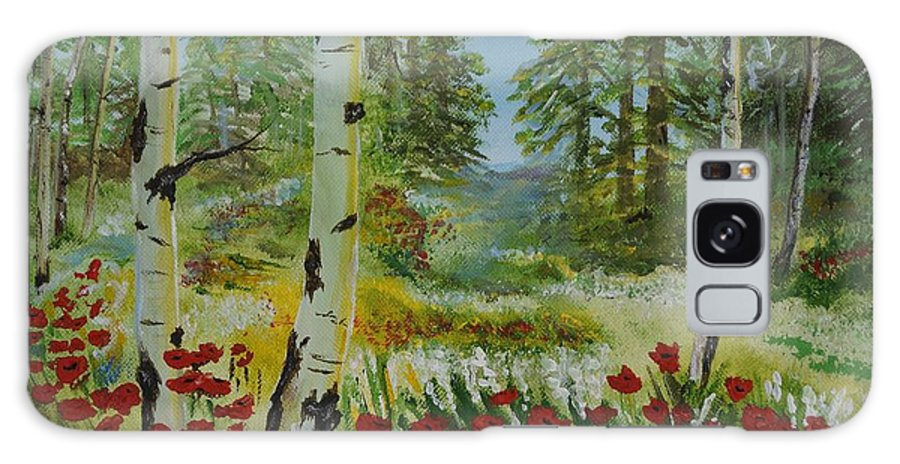 Mountain Galaxy S8 Case featuring the painting Mountain Poppies by Leslie Allen