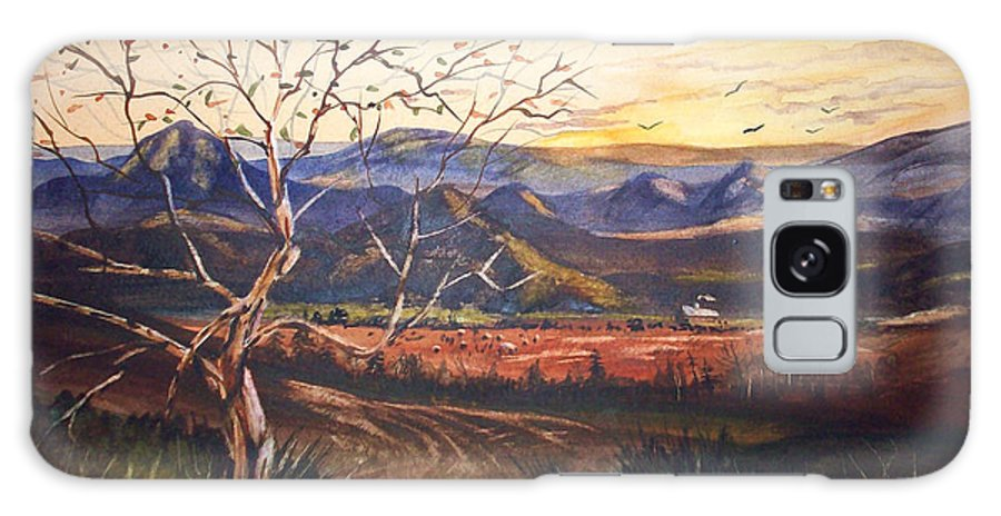 Mountain Sun Trees Landscape Watercolor Birds Galaxy S8 Case featuring the painting Mountain Sun by Anthony DiNicola