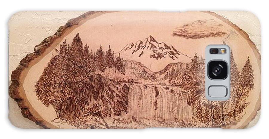 Mountain Galaxy S8 Case featuring the pyrography Mountain Waterfall by Dwayne Daniels