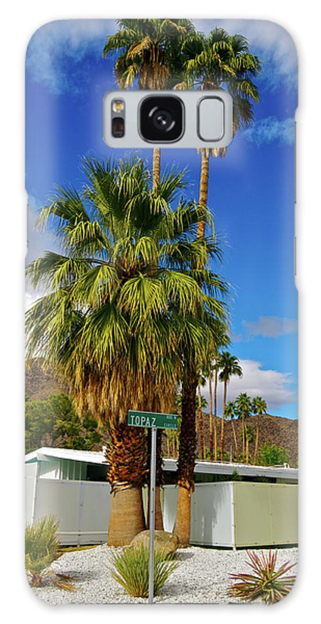 Fan Palm Tree Galaxy Case featuring the photograph Mountains, Plants & Mid-century Home In by Jaylazarin