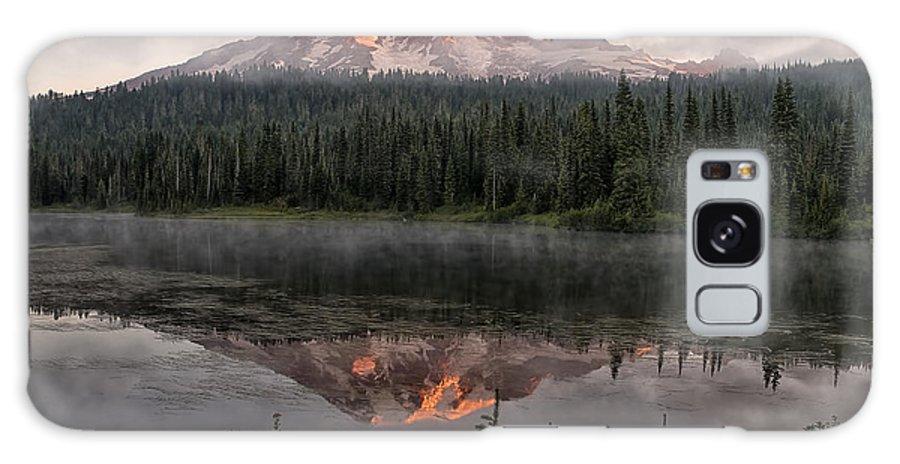 Mt Ranier Galaxy S8 Case featuring the photograph Mt Rainier Alpen Glow by Michael Gass