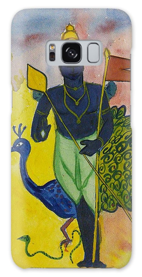 God Galaxy S8 Case featuring the painting The Peacock by Vineeth Menon