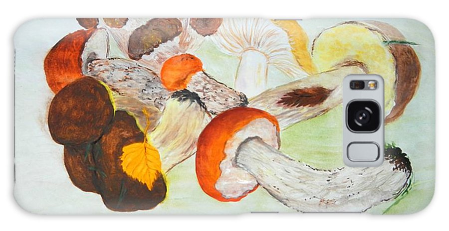 Nature Galaxy S8 Case featuring the painting Mushrooms Time by Loreta Mickiene