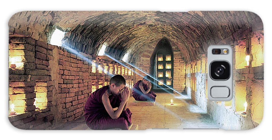Arch Galaxy Case featuring the photograph Myanmar, Buddhist Monks Inside by Martin Puddy