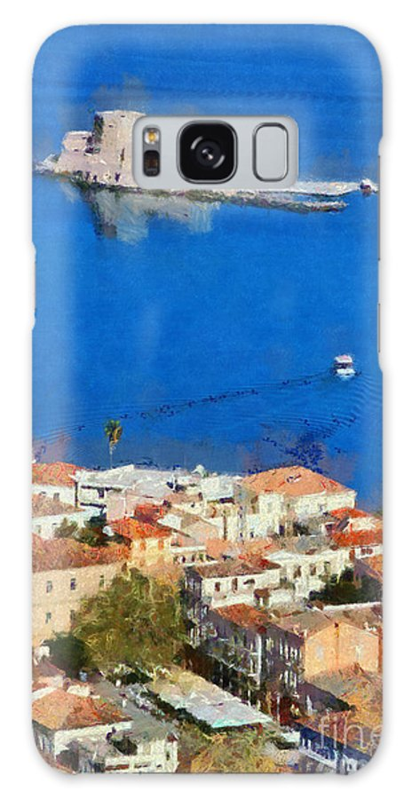 Bourtzi Galaxy S8 Case featuring the painting Nafplio And Bourtzi Fortress by George Atsametakis