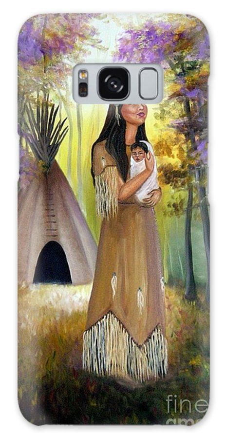 Native American Galaxy S8 Case featuring the painting Native American Mother And Child by Lora Duguay