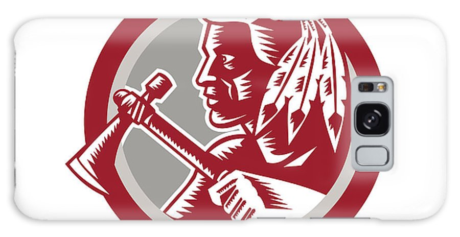 Native American Galaxy S8 Case featuring the digital art Native American Tomahawk Warrior Circle by Aloysius Patrimonio