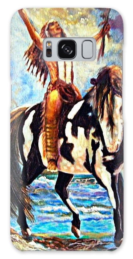 Native American Warrior Galaxy S8 Case featuring the painting Native American Warrior by Leland Castro