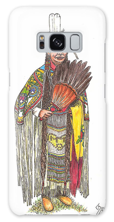 Indian Galaxy S8 Case featuring the drawing Native American Woman by Lew Davis