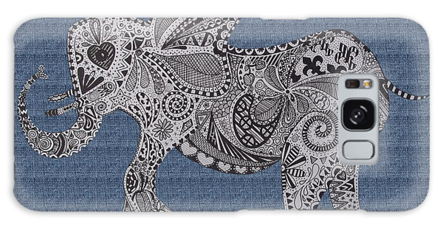 Nelly Galaxy S8 Case featuring the drawing Nelly The Elephant Denim by Karen Larter