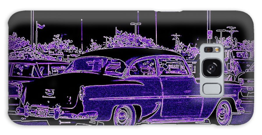 Chevy Art On Canvas Galaxy S8 Case featuring the digital art Neon Chevy Blues by Bobbee Rickard
