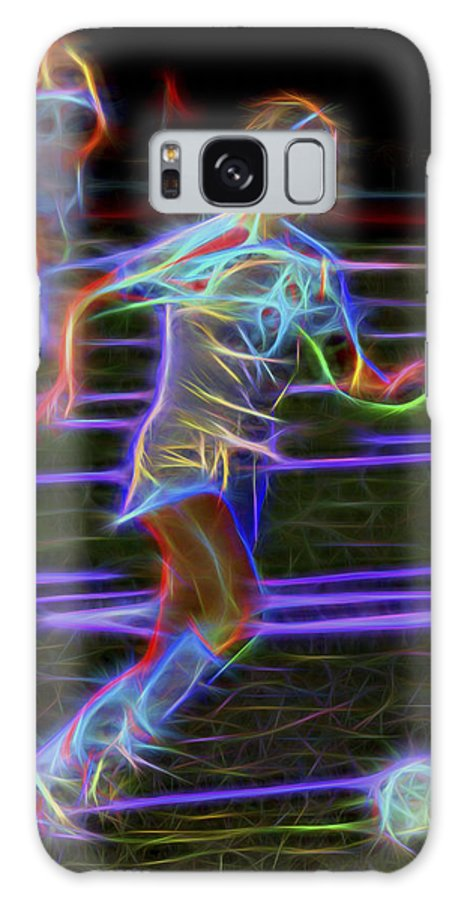 Soccer Galaxy S8 Case featuring the photograph Neon Soccer Player by Kelley King