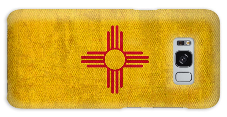 New Mexico State Flag Art On Worn Canvas Galaxy S8 Case featuring the mixed media New Mexico State Flag Art On Worn Canvas by Design Turnpike