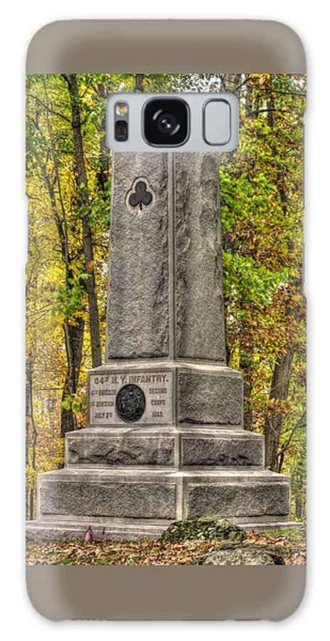 Civil War Galaxy S8 Case featuring the photograph New York At Gettysburg - Monument To The 64th Ny Volunteer Infantry In The Rose Woods by Michael Mazaika