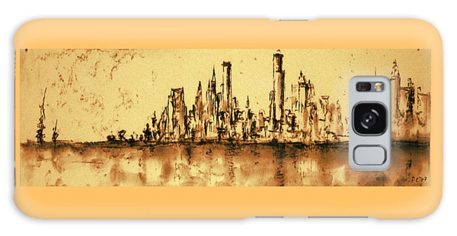 New+york Galaxy S8 Case featuring the painting New York City Skyline 79 - Water Color Panorama by Peter Potter