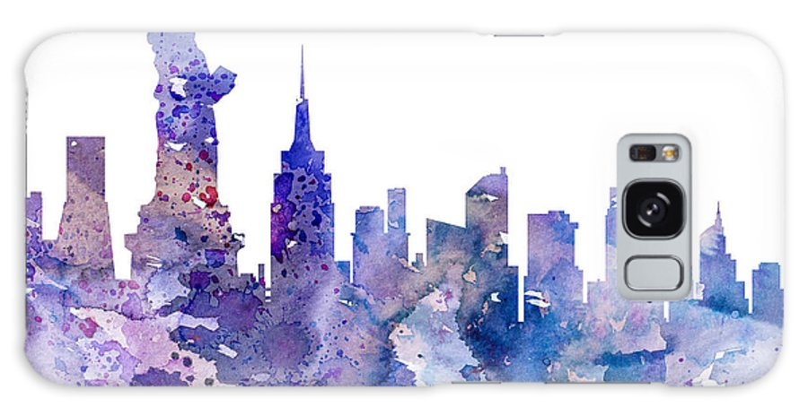 New York City Skyline Galaxy S8 Case featuring the painting New York by Watercolor Girl