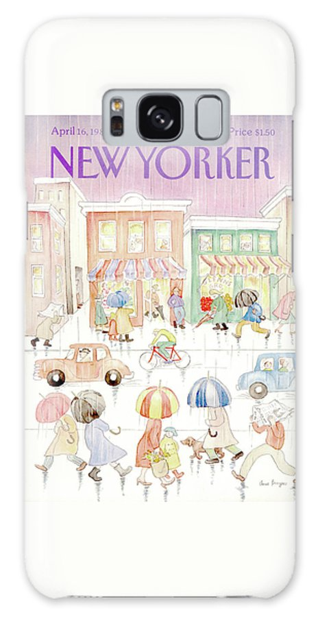 Rain Galaxy S8 Case featuring the painting New Yorker April 16th, 1984 by Anne Burgess