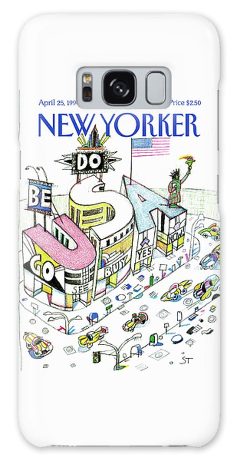 Saul Steinberg 50760 Steinbergattny. Building In The Shape Of The Word 'usa' With Cars Driving By. Galaxy S8 Case featuring the painting New Yorker April 25th, 1994 by Saul Steinberg