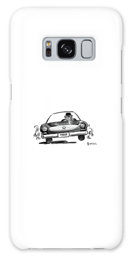 No Caption A Determined Looking Man Is Driving A Car With The Front License Plate .  No Caption A Determined Looking Man Is Driving A Car With The Front License Plate .  Auto Galaxy S8 Case featuring the drawing New Yorker August 15th, 1988 by Eldon Dedini