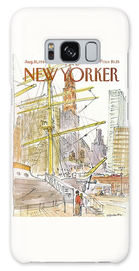 Skyline Galaxy S8 Case featuring the painting New Yorker August 31st, 1981 by James Stevenson