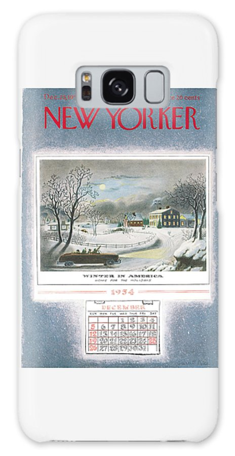 Christmas Galaxy Case featuring the painting New Yorker December 25th, 1954 by Garrett Price