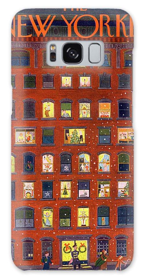 Apartment Building Urban City Manhattan New York City Skyscraper Skyscrapers Galaxy S8 Case featuring the painting New Yorker December 26, 1953 by Ilonka Karasz