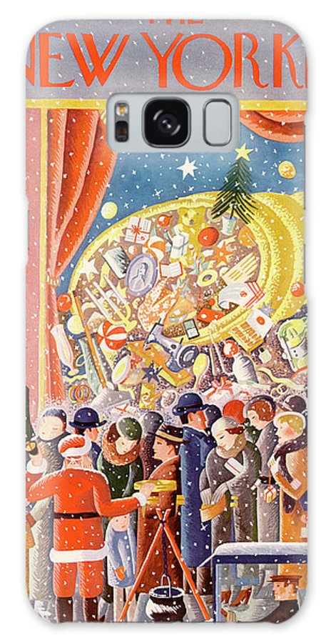 Christmas Xmas Holiday Santa Claus New York City Manhattan Shopping Donation Charity Cornucopia Crowd Sidewalk Street Ilonka Karasz Ika Ilonka Karasz Ika Artkey 48386 Galaxy S8 Case featuring the painting New Yorker December 9th, 1933 by Ilonka Karasz