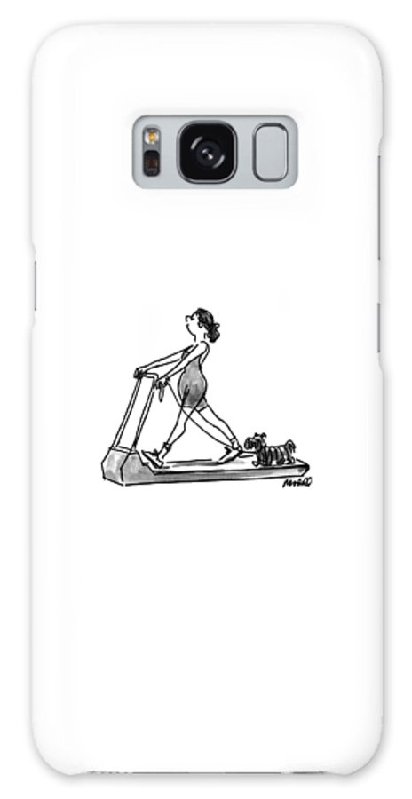 (the Woman Taking Her Dog Out For A Walk On Her Threadmill.) Fitness Galaxy S8 Case featuring the drawing New Yorker February 14th, 1994 by Frank Modell
