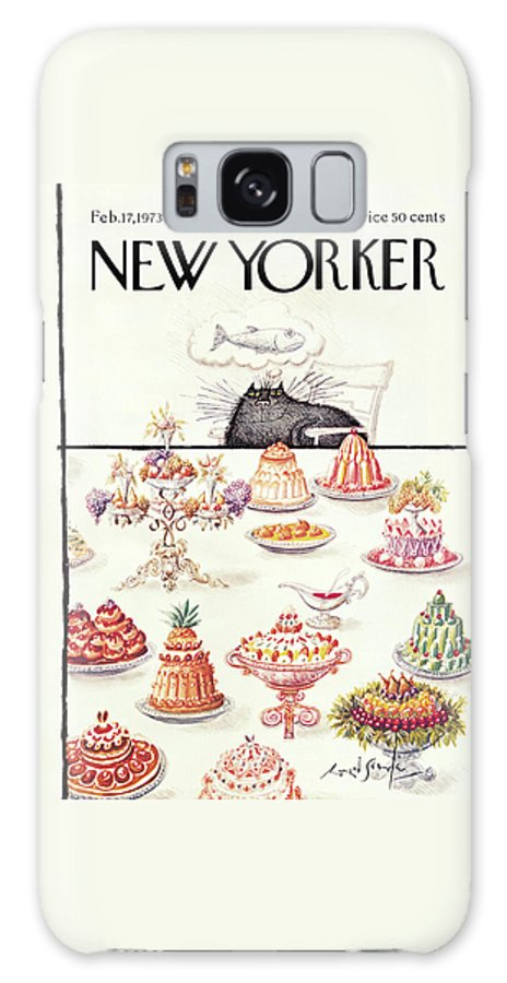 Cat Galaxy S8 Case featuring the painting New Yorker February 17th, 1973 by Ronald Searle