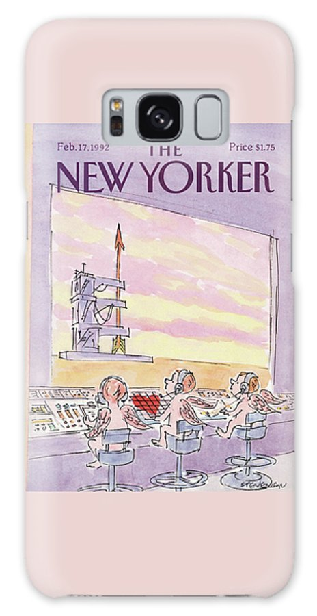 Three Cupids Sit At The Controls Of An Arrow On A Launch Pad. Galaxy S8 Case featuring the painting New Yorker February 17th, 1992 by James Stevenson