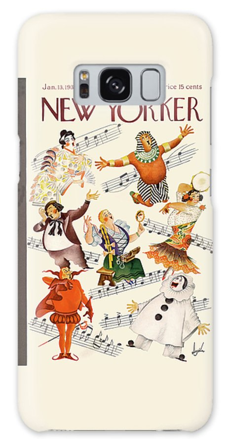 Music Singing Sing Singer Opera Aria Performer Actor Metropolitan Lincoln Carmen Aida Theater Constantine Alajalov Cal Sumnerok Artkey 48390 Galaxy S8 Case featuring the painting New Yorker January 13th, 1934 by Constantin Alajalov